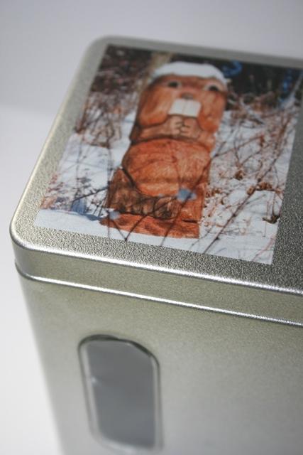 Teedose auf dem Deckel bedruckt